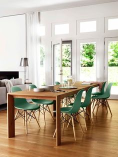 Greem Eames dining chairs