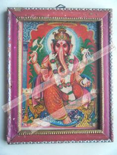 Rare Ganesha Temple Worship Religious Old Print in Old Wooden Frame India #2440
