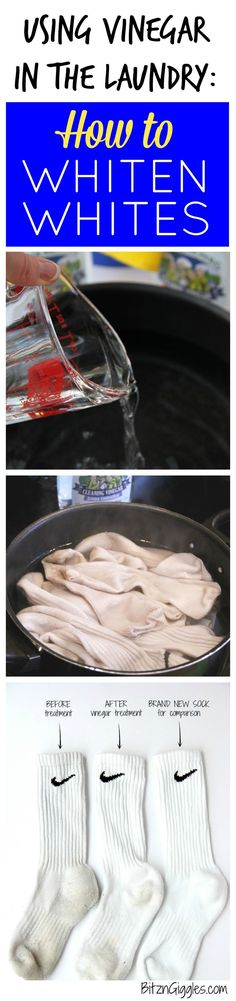 Using Vinegar in the Laundry How to Whiten Whites - Tutorial on using a natural cleaner to brighten dingy white socks and clothes It really works FourMonksClean AD Homemade Cleaning Products, Household Cleaning Tips, Cleaning Recipes, House Cleaning Tips, Natural Cleaning Products, Cleaning Hacks, Cleaning Solutions, Household Cleaners, Cleaning Supplies