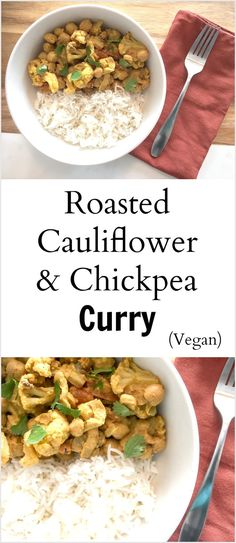 Try this delicious roasted cauliflower and chickpea curry for dinner. Not only is it tasty, it's vegetarian and it's vegan. Spicy Vegetarian Recipes, Quick Vegan Meals, Good Healthy Recipes, Curry Recipes, Indian Food Recipes, Vegan Recipes, Easy Meals, Healthy Treats, Healthy Foods