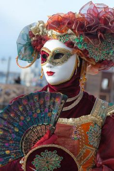 Portrait of a masquerader, Venice, Italy