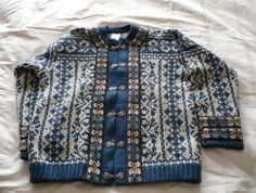 A S Evebofoss Norwegian Royal Blue wool cardigan sweater jacket pewter clasps by ConcealedTreasures on Etsy Wool Cardigan, Sweater Jacket, Wool Embroidery, Blue Wool, Vintage Sweaters, Grey And White, Royal Blue, 1970s, Norway