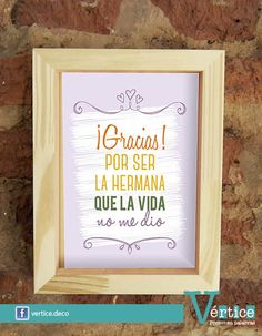 Cuadros Día del Amigo | Medida 18x24cms | Marco en color blanco o madera natural | Teaching Quotes, Friend Birthday Gifts, Diy Gifts, Besties, Lettering, Frame, Cards, Amor, Bff Gifts