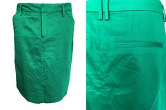 VTG Polished Cotton Emerald Kelly Green Summer Cruise Vacation City Break Denim Type Cut Pencil Skirt w/ Pockets sz Large-XLarge Types Of Jeans, Power Dressing, City Break, Cruise Vacation, Kelly Green, White Trim, Tulip, Emerald, Pencil