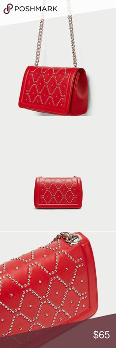 ZARA Studded Leather Crossbody Bag Red leather Crossbody Bag With micro studs on the front flap and shoulder strap made of combination of materials. Features silver metal hardware, lining with pocket and magnetic clasp fastening Zara Bags Crossbody Bags