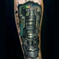 Rough iron robot detailed tattoo on arm