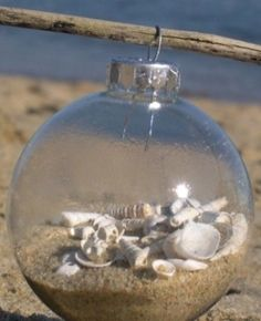 Make a Beachy Christmas Ornament...perfect use for the sand I collected in mexico this summer!