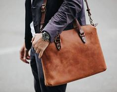 Leather briefcase by Kruk Garage Laptop bag Mens work bag Leather satchel Handcrafted leather bag Christmas gift FREE PERSONALIZATION