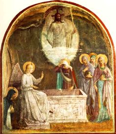 1440 Fra Angelico Fresco Resurrection of Christ, and the Women a ttheTomb fresco, Convent of San Marco, Florence
