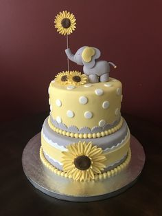 Elephant and Sunflower Baby Shower Cake - - Elephant Baby Shower Cake, Elephant Cakes, Elephant Birthday, Elephant Food, Elephant Theme, Baby Girl Shower Themes, Baby Shower Fun, Baby Shower Decorations, Shower Centerpieces