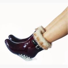 Half Shoes Light Autumn Water Boots Women Korean Version Winter Buckle Plus Velvet High Heel Funky Booties Hot Selling Wedge