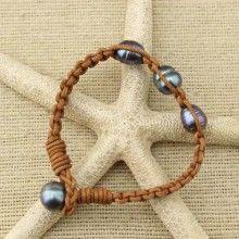 11-12 mm Rice Pearls Women Leather Bracelet , Peacock Blue and Black Pearls Bracelet  ,Genuine Freshwater Pearls for Women,ETS-B110