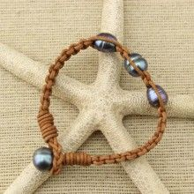 11-12 mm Rice Pearls Women Leather Bracelet , Peacock Blue and Black Pearls Bracelet  ,Genuine Freshwater Pearls for Women,ETS-B110