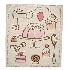 """Sweet to the Soul Tea Towel Approximately 29 """"L x 30"""" W Message: Make it sweet // Served with Love // Gracious words are... sweet to the soul ... Proverbs 16:24. 100% Cotton. Machine wash cold, tumble dry low."""