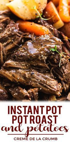 Juicy and tender instant pot pot roast and potatoes with gravy makes the perfect family-friendly dinner. This easy one pot dinner recipe will please even the picky eaters! Roast Beef And Potatoes, Beef Pot Roast, Roast Beef Recipes, Instapot Roast Beef, Easy Pot Roast, Healthy Crockpot Pot Roast, Slow Cooker Beef Roast, Pot Roast Gravy, Roast Beef Dinner