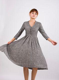 Grey Linen long dress.. :)