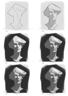nice tut by Simon Cowell The steps explained briefly: A. Draw in the big proportions with few lines. Draw in the basic shadow shapes, keeping the. Digital Painting Tutorials, Digital Art Tutorial, Drawing Tutorials, Art Tutorials, Digital Paintings, Painting Process, Painting Techniques, Painting & Drawing, Drawing Process