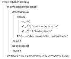 """What you say """"bout me""""?   Hold My Flower   Know Your Meme"""