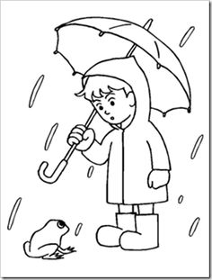 Boy With His Umbrella And Rain Jacket Under The Spring Coloring Page