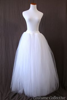 Long White Tulle Skirt Med Adult Tutu by CostumeCollective, $79.00