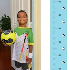Patent Pending Mom Approved Soccer PeekaBoo Growth Charts Track & Measure your Kid's Height. Fits in Standard Door Jamb, Removable & Reusable, Self-Adhesive [72 x 1.25 Inches] available on Etsy, Amazon, Ebay and www.momapproved.net