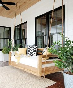 Porch Swing Replacement Parts . Porch Swing Replacement Parts . Plank and Pillow How to Build A Porch Swing Bed Porch Swing Cushions, Porch Chairs, Front Porch Swings, Modern Porch Swings, Hanging Porch Bed, Patio Bed, Outdoor Patio Swing, How To Hang Porch Swing, Porch With Swing