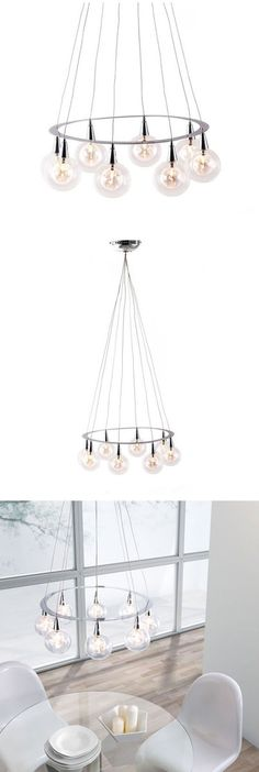 when hung above the dining table the asta orb ceiling lamp illuminates with grace and elegance composed of eight glass orbs attached to a chrome ring