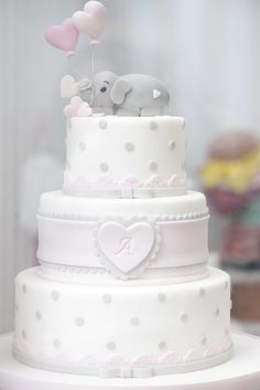 Who knew an elephant cake could look so delicate! Torta Baby Shower, Baby Boy Shower, Baby Boy Christening Cake, Gold Birthday Cake, Wedding Cake Designs, Girl Cakes, Cute Cakes, Celebration Cakes, Beautiful Cakes