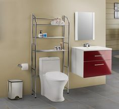 Un gabinete con un toque de color rojo puede dar un efecto moderno. Para complementar la decoración coloca accesorios metálicos.