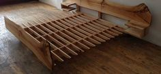 urban product - edge - live edge bed custom made Bed Frame Design, Bedroom Bed Design, Wooden Bed Frame Diy, Custom Wood Doors, Bed Images, Bed With Drawers, Wood Beds, Diy Bed, Furniture Design