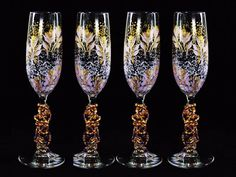 Beaded Bridesmaids' Champagne Flutes 6 x – Beaded Stems, Hand-Painted Lavender and Gold Roses, Set of 6 – Personalized Bachelorette Gifts