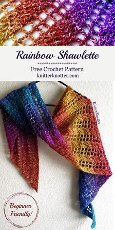 Aug 2019 - Rainbow Shawlette - Free lacy pattern for a beginner friendly crochet shawlette made with only one stitch: double crochet! One Skein Crochet, Crochet Shawl Free, Crochet Shawls And Wraps, Crochet Scarves, Crochet Clothes, Crochet Vests, Crochet Cape, Crochet Shirt, Crochet Edgings