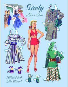 Post Card - TRUDY HAS A DATE Redesigned from Trudy and Her Chums 1954 paper doll book. Trudy has been swimming, and must choose which of three outfits to wear on her date.