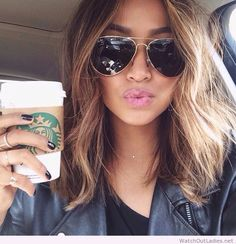 Long bob, sunglasses and coffee