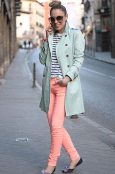 Light Mint Peacoat, Light Pink Skinnies w/ Black and White Striped Shirt!