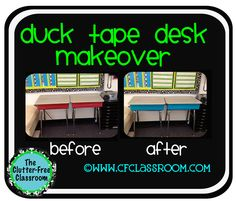 Clutter-Free Classroom: Search results for classroom 360  Use duck tape or painter's tape to turn your ugly gray/brown desks into colorful, fun desks!