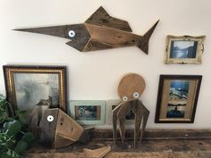 Octopus wood - Wood fish - whale art - wood arving - nautical art - wood design pallet di allaviacosi su Etsy