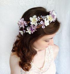 lavender flower hair wreath, purple wedding headpiece, bridal hair accessory, ivory flower crown - FILIGREE HALO - lilac purple crystals