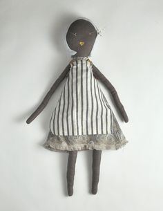 Jess Brown Striped Apron Rag Doll style #13887 Hand made $125.00