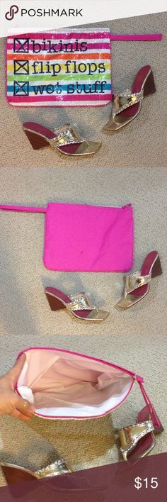 Bikinis , flip flops , wet stuff Sequin bag Gently used once , has a plastic inside layer , handle ? Hot pink , 12x9 Bags