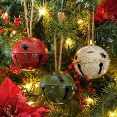 Jingle Bell Tree Decorations Glittering Snow Jingle Bell Ornament  Jingle Bells White Glitter