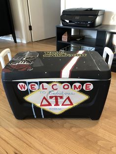 Delta Upsilon, Delta Tau Delta, Painted Fraternity Coolers, Frat Coolers, Formal Cooler Ideas, Fraternity Formal, Star Wars Painting, Vegas Sign, Cooler Painting