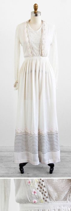 Edwardian wedding dress / Edwardian dress / Antique 1910s White Cotton and Lace Dress with Pink Floral Embroidery. $424.00, via Etsy.