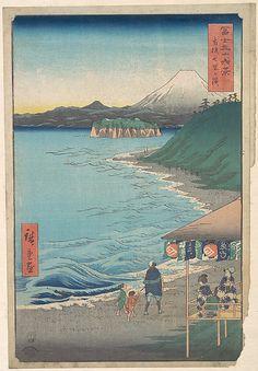 Utagawa Hiroshige (Japanese, 1797–1858). View of Mount Fuji from Seven-ri Beach, Province of Sagami (Sōshū: Shichi-ri ga hama), from the series Thirty-six Views of Mount Fuji (Fugaku sanjūrokkei), dated 4th month, Horse year 1858. Japan. Edo period (1615–1868). The Metropolitan Museum of Art, New York. Rogers Fund, 1914 (JP59)