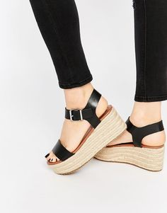 Steve Madden | Steve Madden Surfaa Black Espadrille Wedge Sandals at ASOS