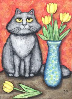 Fluffy Grey Cat With Yellow Tulips Painting at ArtistRising.com
