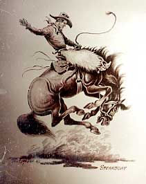 """""""Steamboat"""" by Till Goodan, Cowboy Artist.....I have always loved Till's work...I have dishes, books, prints by him!"""