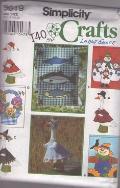 """MOMSPatterns Vintage Sewing Patterns - Simplicity 9019 Retro 90's Sewing Pattern OUT OF PRINT Crafts 22"""" Large Lawn Goose Geese Costumes, Clothing, Hanging Seasonal Flags One Size Simplicity Sewing Patterns, Vintage Sewing Patterns, Clothing Patterns, Goose Costume, Beautiful Patterns, Goose Geese, Kids Rugs, Seasons, Costumes"""