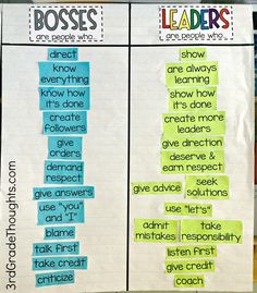Bosses vs. Leaders Lesson + Freebies - 3rd Grade Thoughts