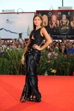 Eva Mendes Peep Toe Pumps - Strutting down the red carpet in an Armani Prive'…